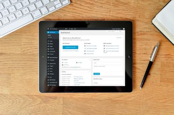 WordPress Dashboard on an iPad