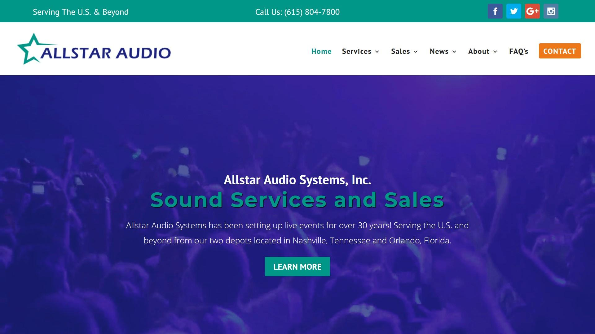 Allstar Audio WordPress Website Redesign Project