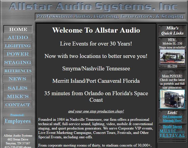 Original Allstar Audio Website