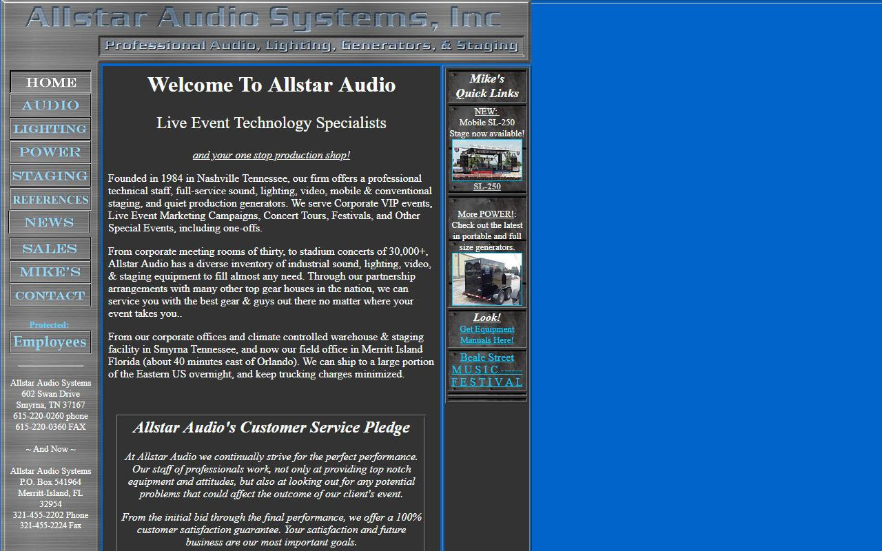 Original Allstar Audio Website
