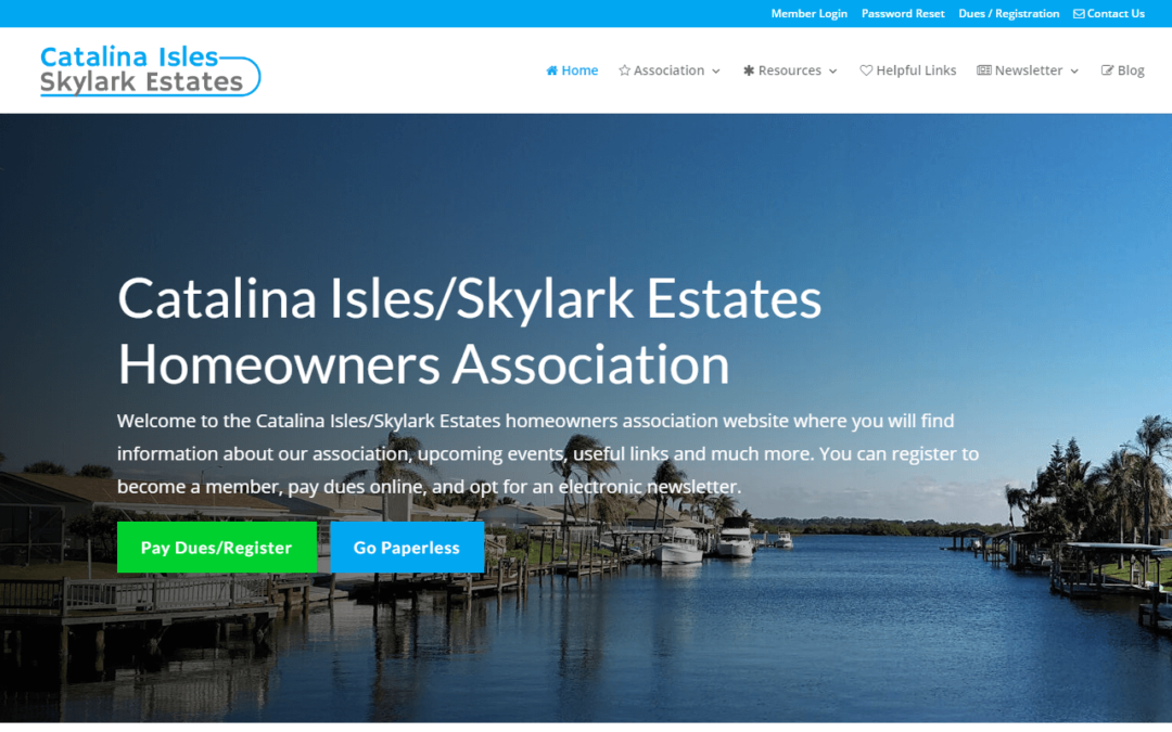 Catalina Isles/Skylark Estates Homeowners Association Website Redesign