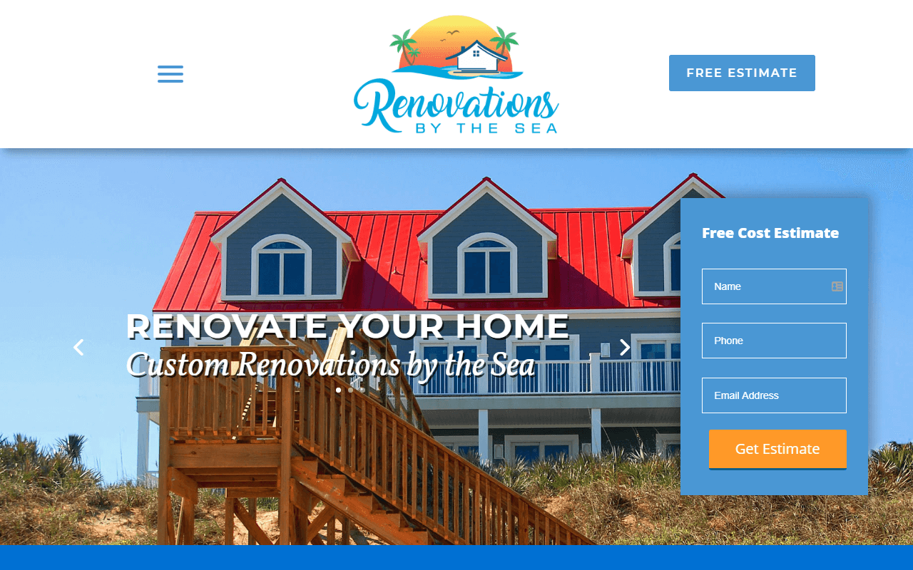 Custom Renovations by the Sea Website Design Project