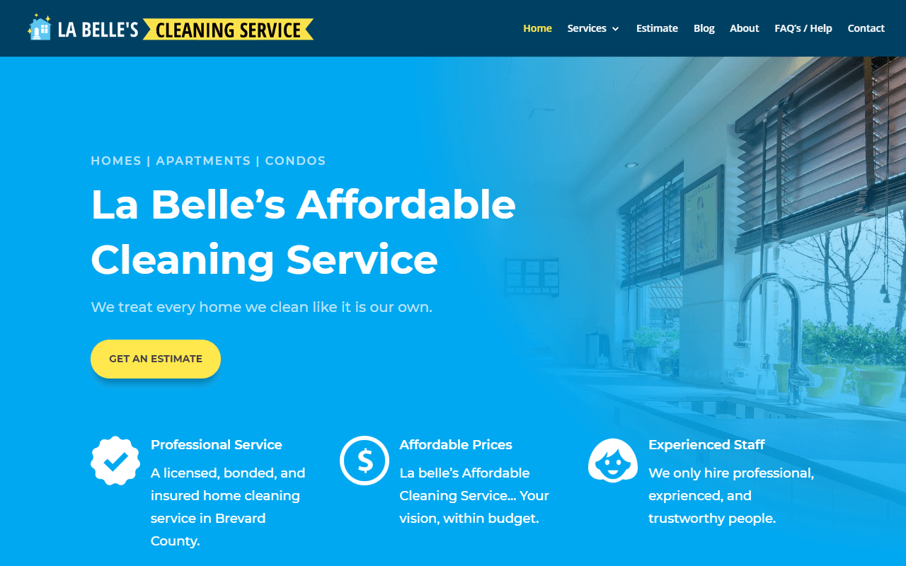 La Belle's Affordable Cleaning Service Website Design Project