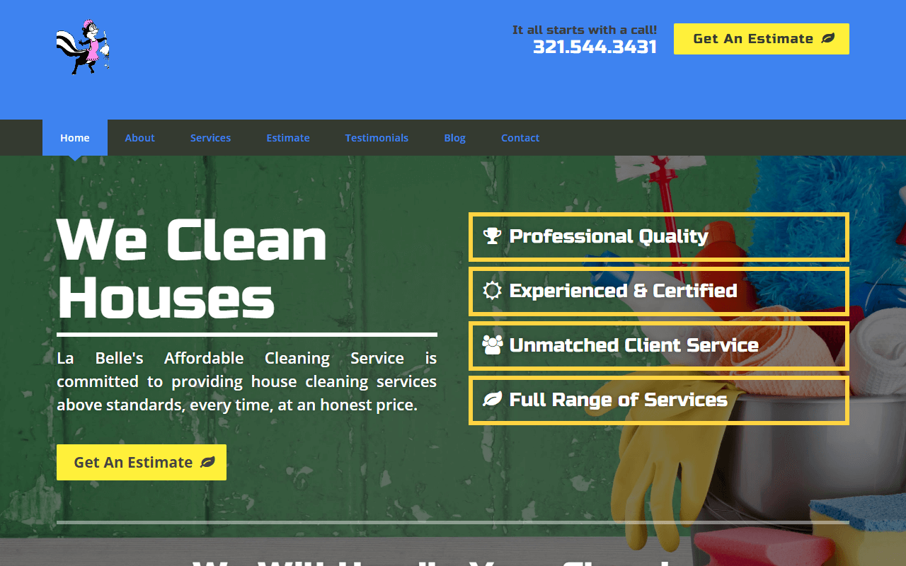 Original La Belle's Affordable Cleaning Service Website