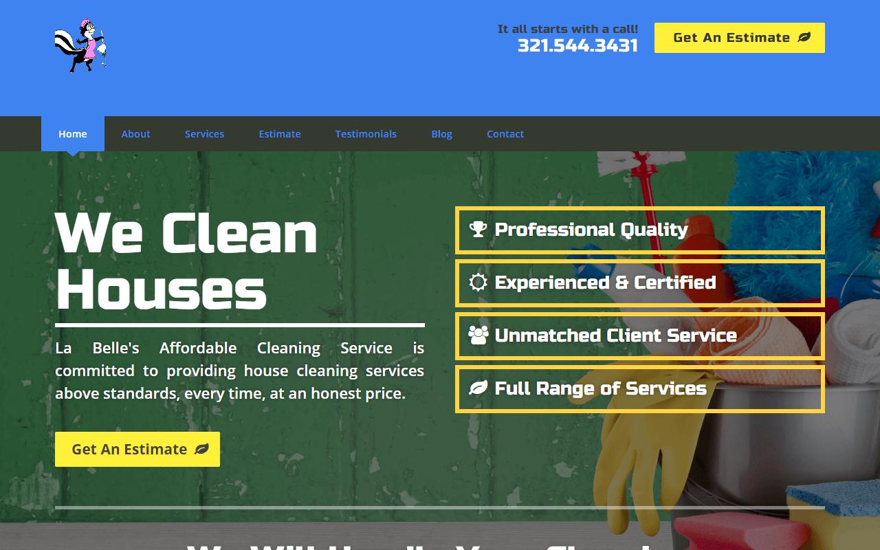 Original La Belle's Affordable Cleaning Service Website