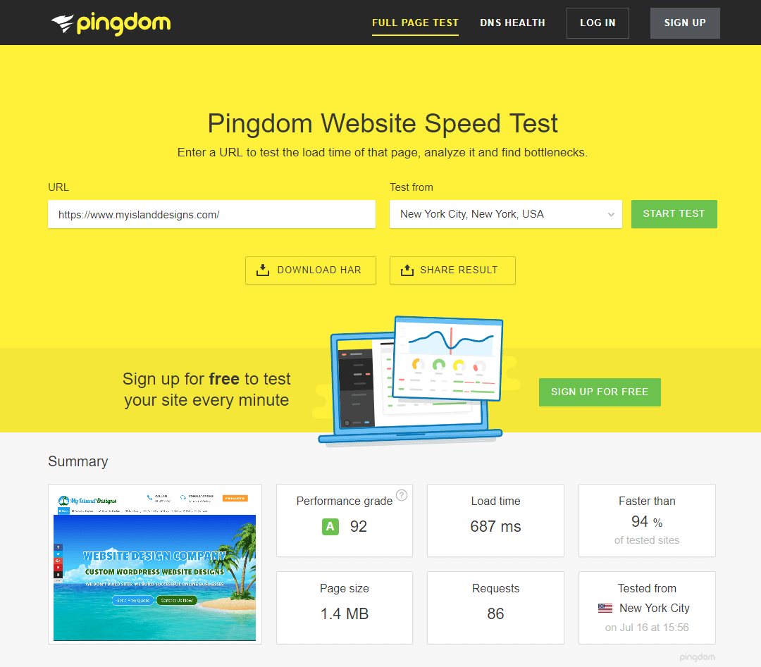 My Island Designs Pingdom Website Speed Test