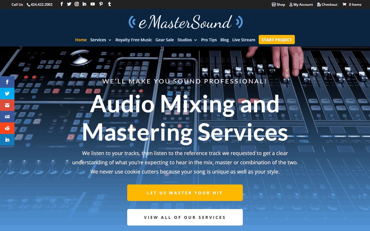 eMasterSound Audio Engineer Website Redesign Project