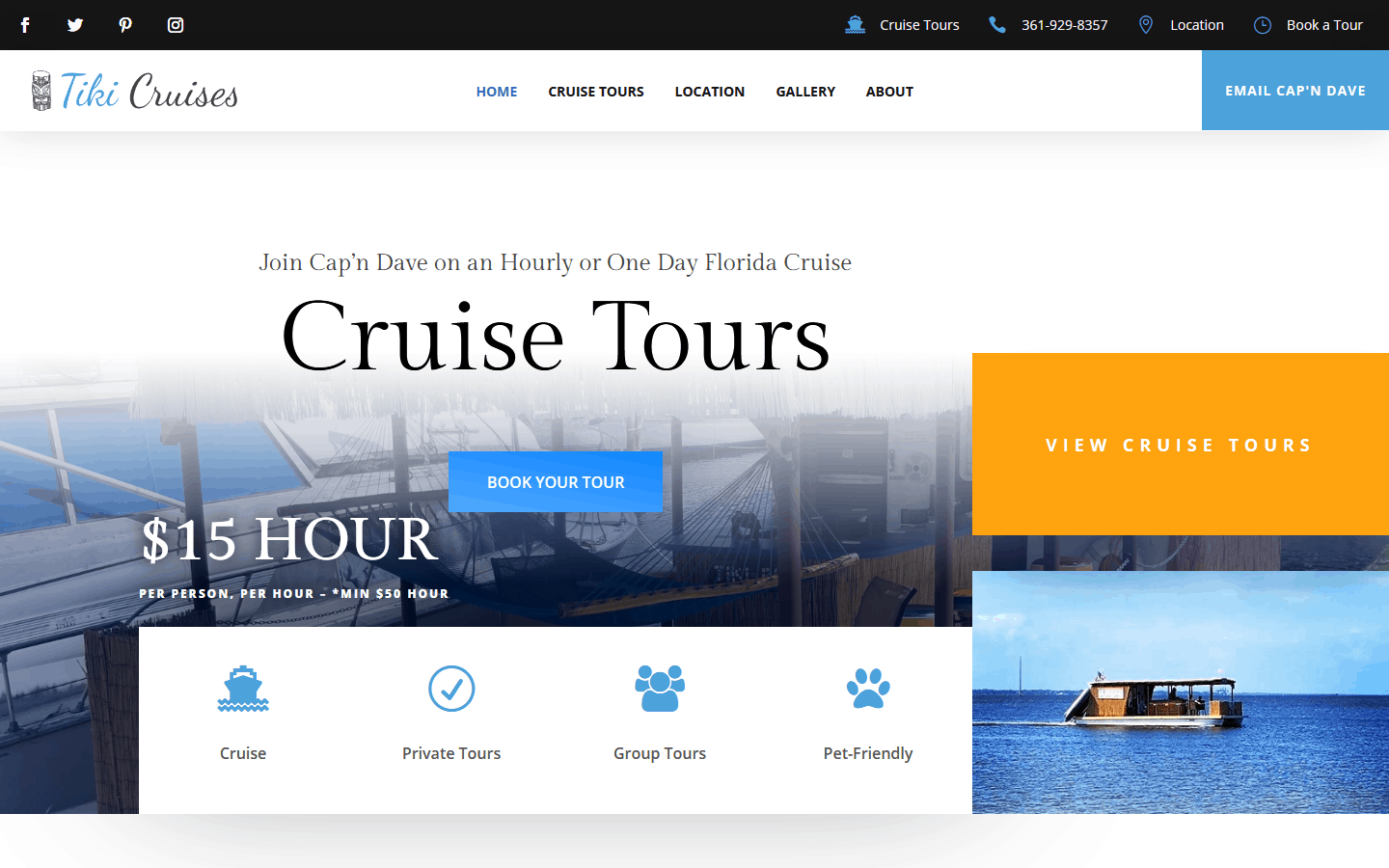 Tiki Cruises WordPress Website Design Project