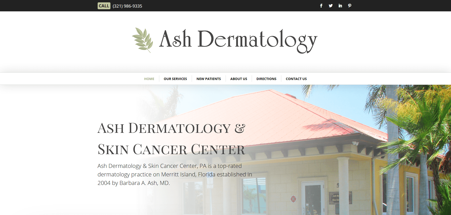 Ash Dermatology Merritt Island Wordpress Website Design Project Hero Section