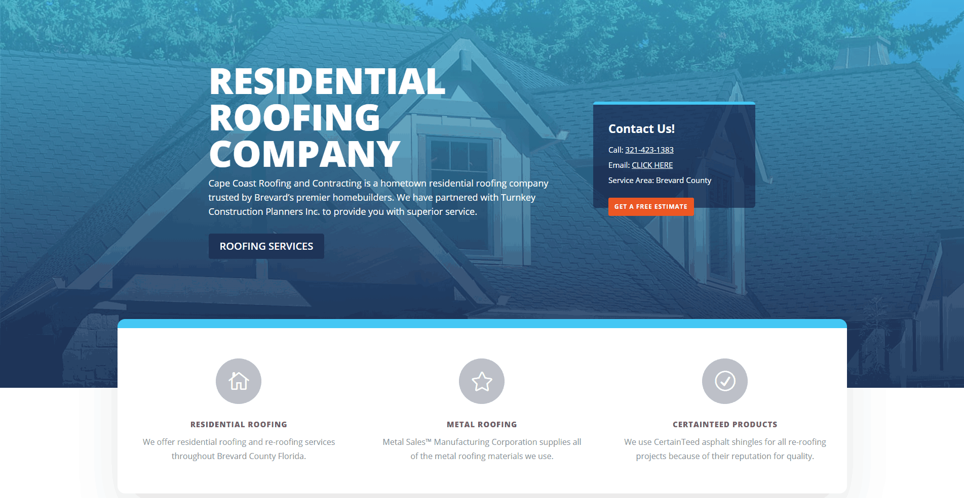Cape Coast Roofing Home Page Hero Section