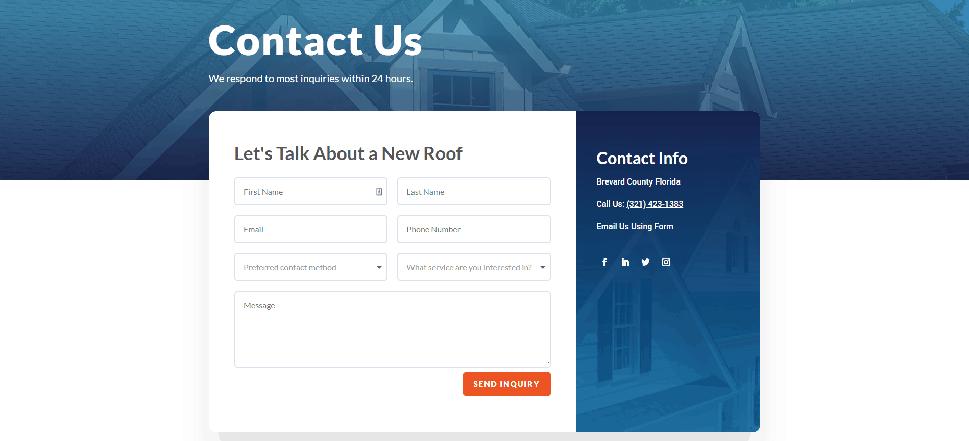 Cape Coast Roofing Wordpress Contact Us Page Section