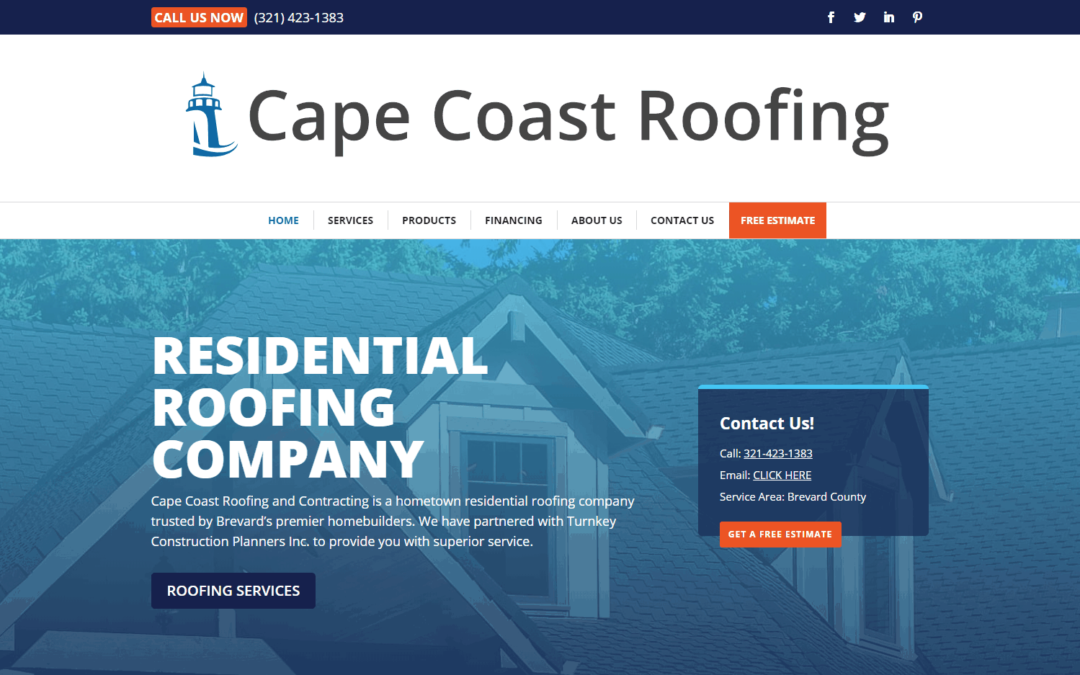 Cape Coast Roofing WordPress Website Design Project